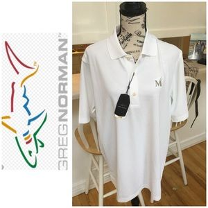 "Greg Norman White Golf Shirt ""M"" Logo Size Medium"